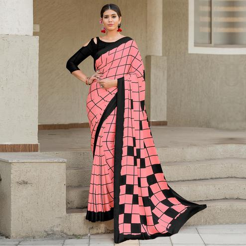 Excellent Pink-Black Colored Party Wear Designer Checks Printed Satin Silk Saree