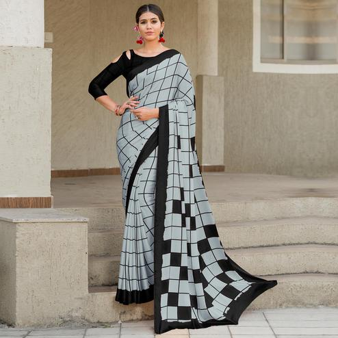 Marvellous Grey-Black Colored Party Wear Designer Checks Printed Satin Silk Saree
