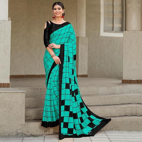 Sensational Turquoise-Black Colored Party Wear Designer Checks Printed Satin Silk Saree