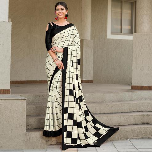 Flaunt Cream-Black Colored Party Wear Designer Checks Printed Satin Silk Saree