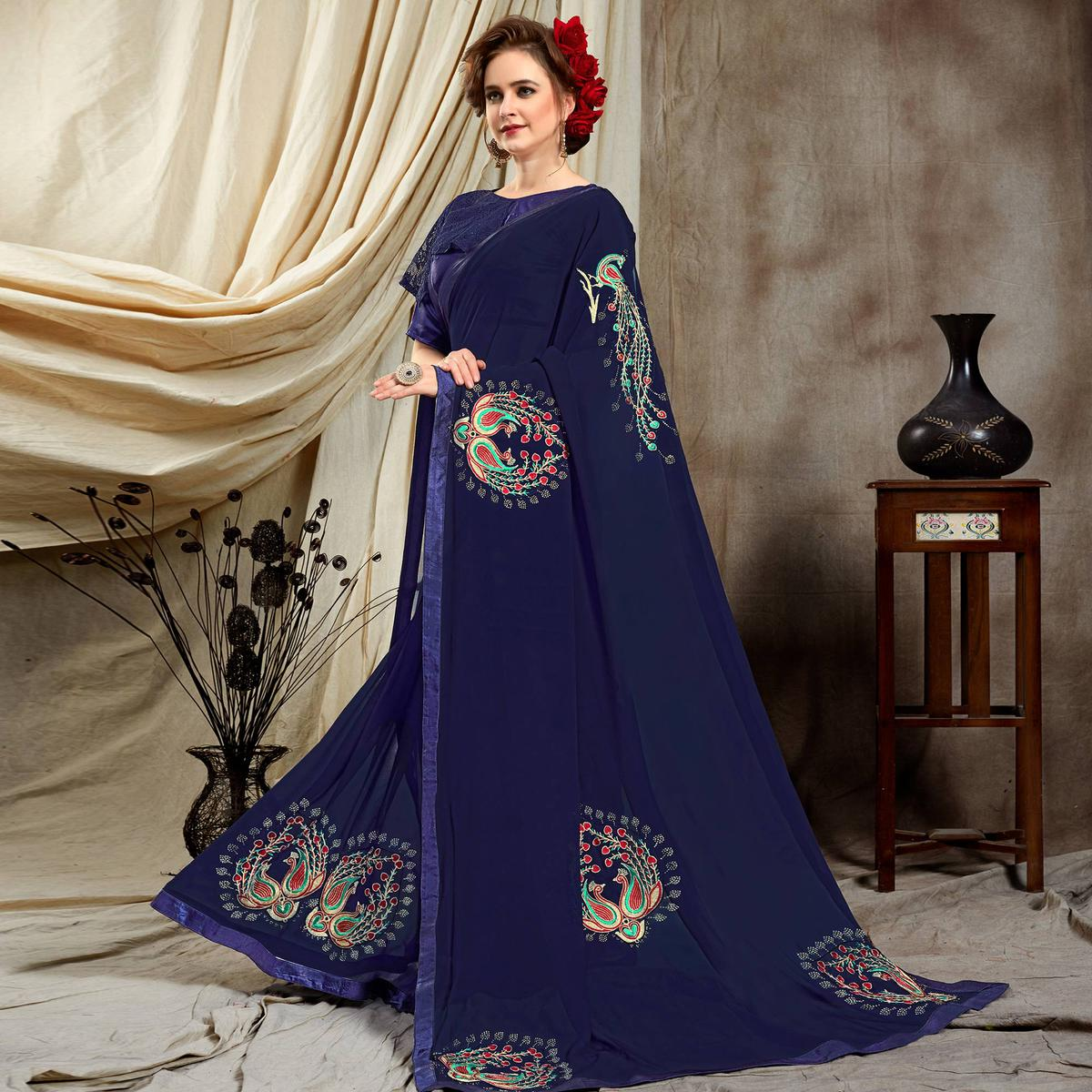 Arresting Navy Blue Colored Partywear Embroidered Georgette Saree
