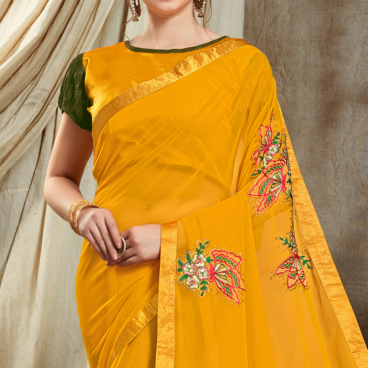 Desirable Yellow Colored Partywear Embroidered Georgette Saree