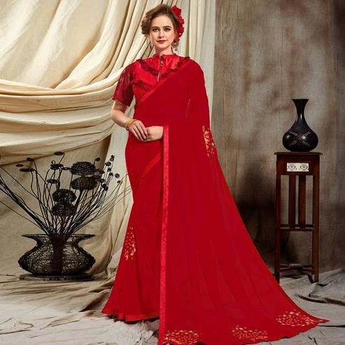 Trendy Red Colored Partywear Embroidered Georgette Saree
