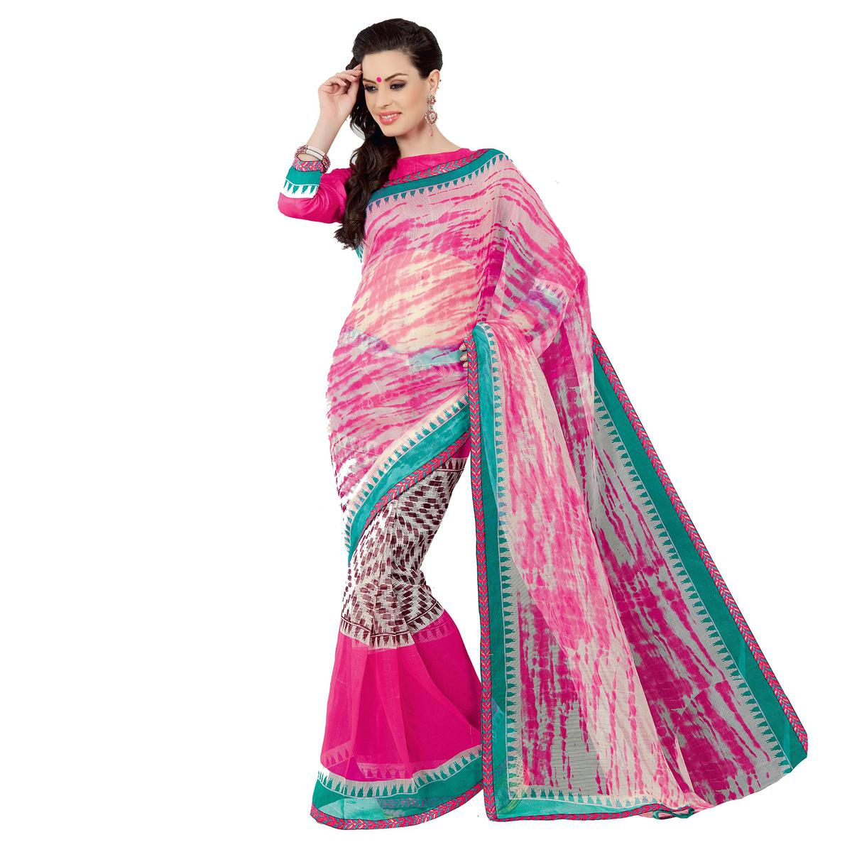 Pink - Off White Super Net Saree