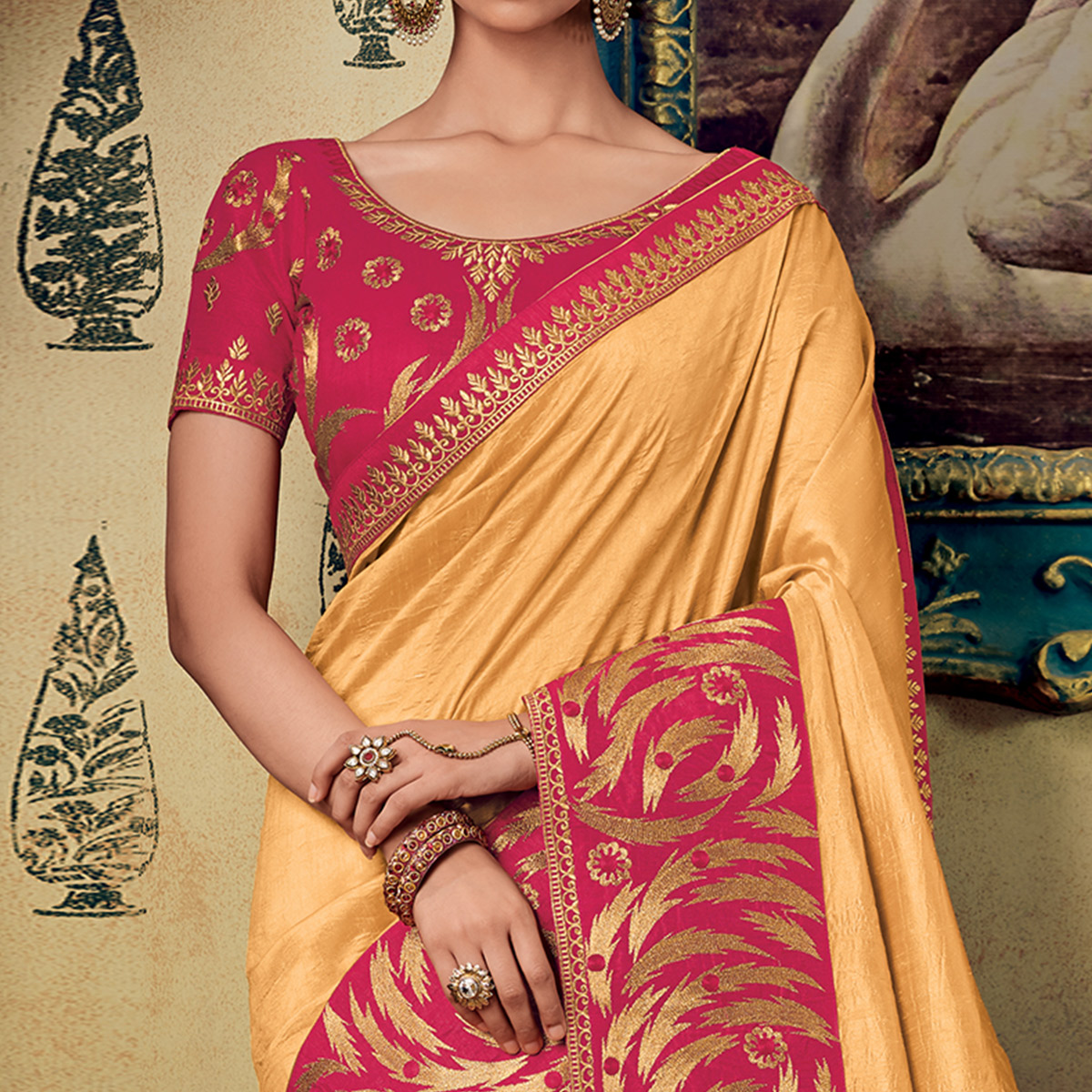 Lovely Yellow Colored Partywear Embroidered Silk Saree
