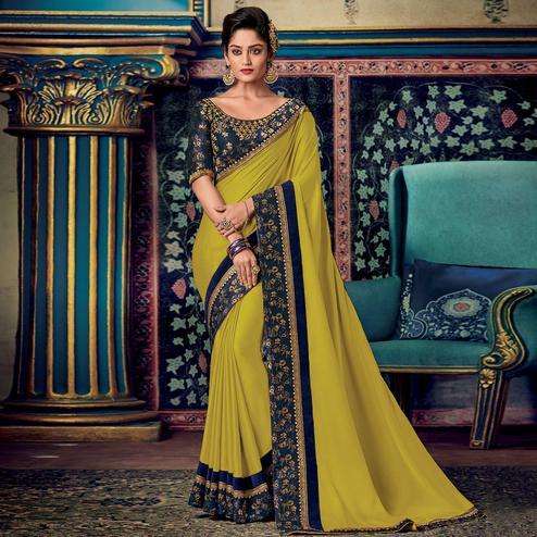 Impressive Lime Green Colored Partywear Embroidered Silk Saree