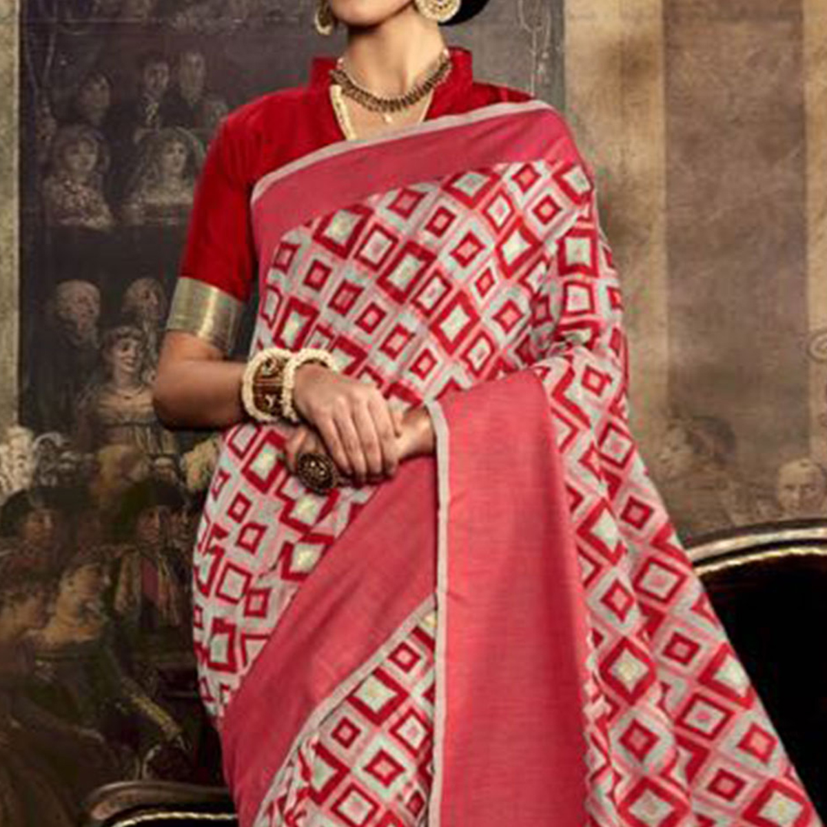 Pink Poly Silk Weaved Saree
