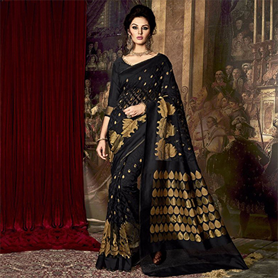 Black Weaving Work Poly Silk Saree