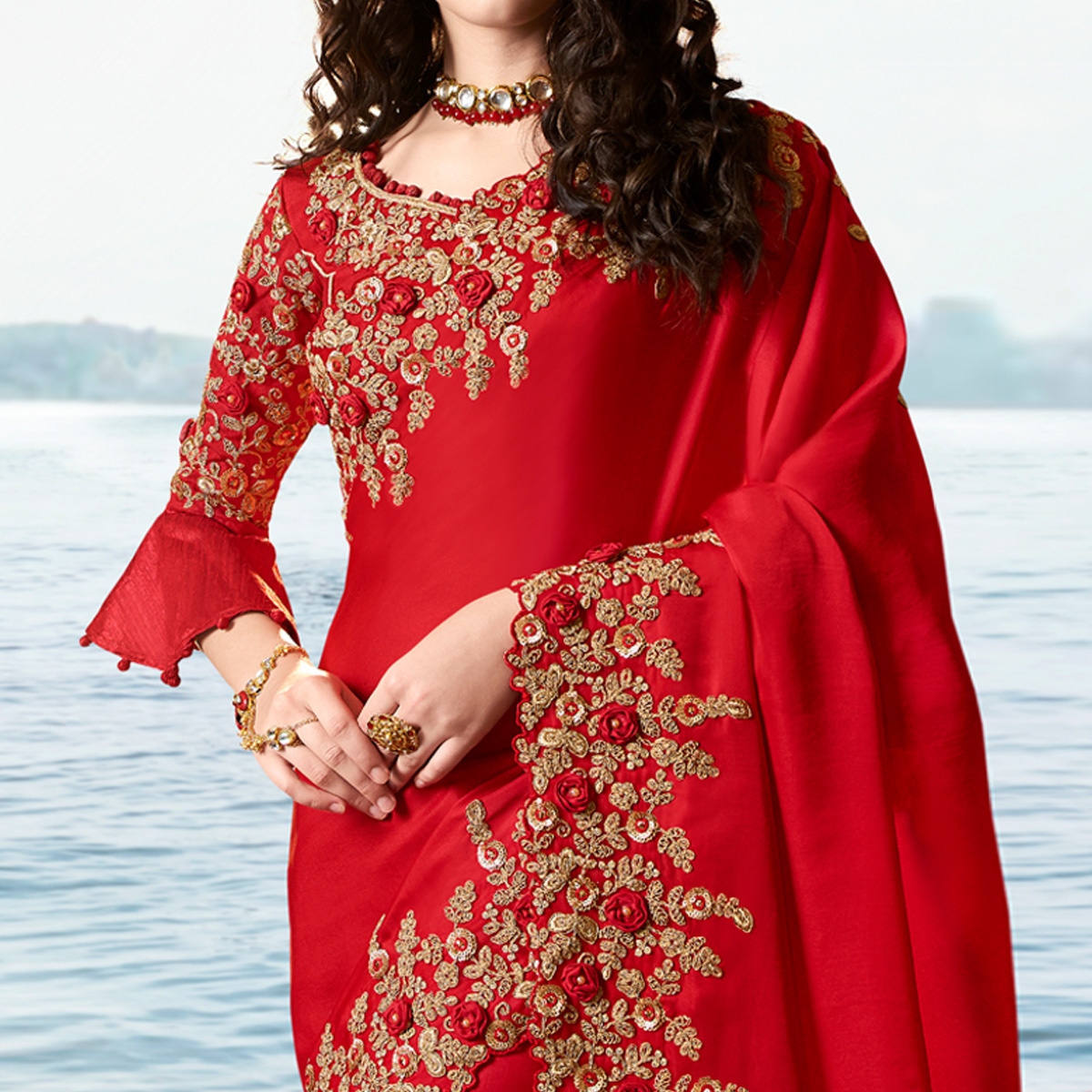 Beautiful Red Colored Party Wear Floral Embroidered Silk Saree