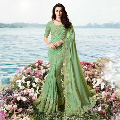 Jazzy Green Colored Party Wear Floral Embroidered Crepe Saree