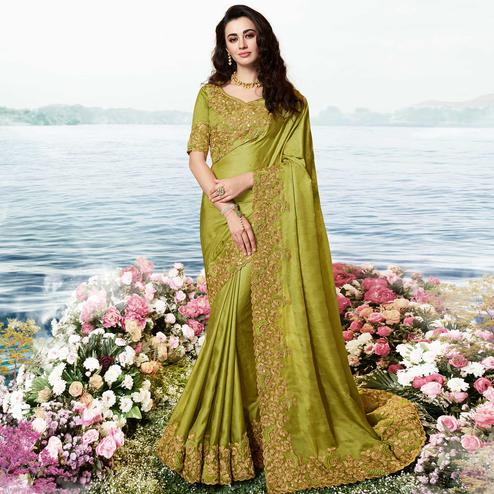 Intricate Olive Green Colored Party Wear Floral Embroidered Silk Saree