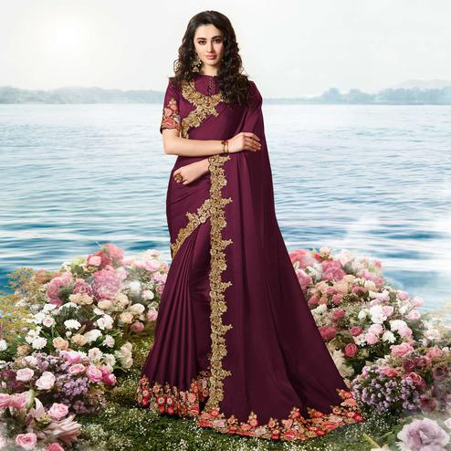 Trendy Wine Colored Party Wear Floral Embroidered Silk Saree