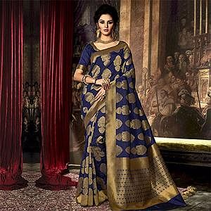 Dark Blue Weaving Work Saree