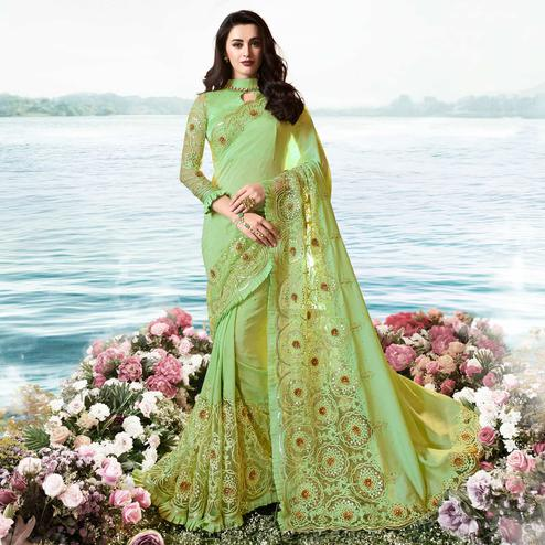 Elegant Green Colored Party Wear Floral Embroidered Silk Saree