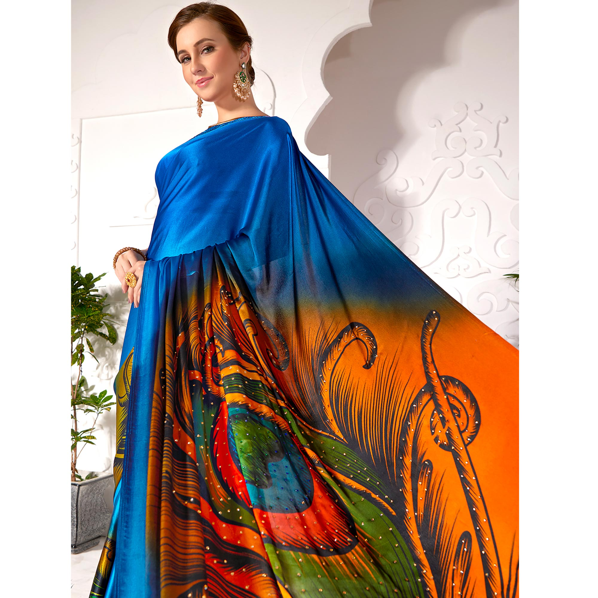 Marvellous Blue Colored Partywear Peacock Feather Printed Satin Saree