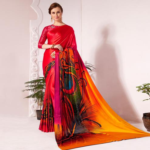 Pretty Red Colored Partywear Peacock Feather Printed Satin Saree