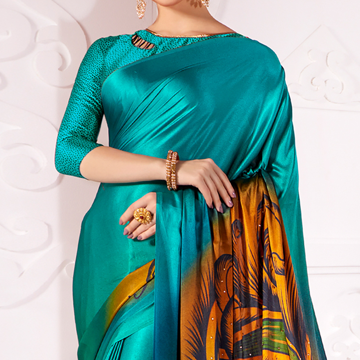 Alluring Rama Blue Colored Partywear Peacock Feather Printed Satin Saree