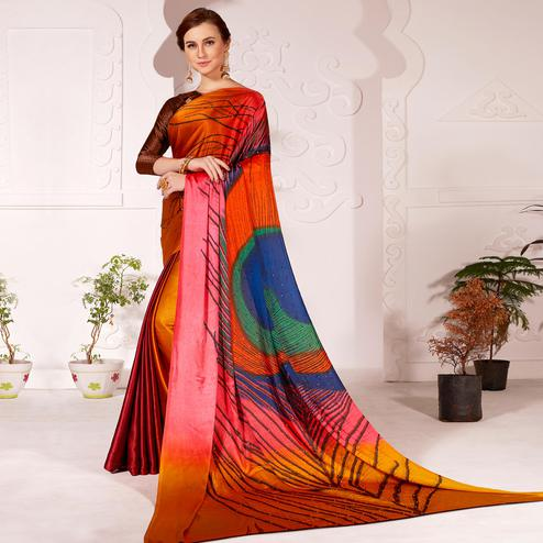 Sensational Brown Colored Partywear Peacock Feather Printed Satin Saree