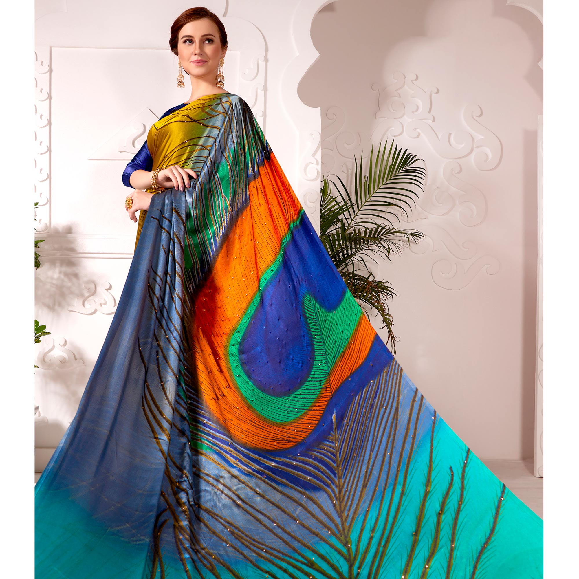 Flaunt Golden Colored Partywear Peacock Feather Printed Satin Saree