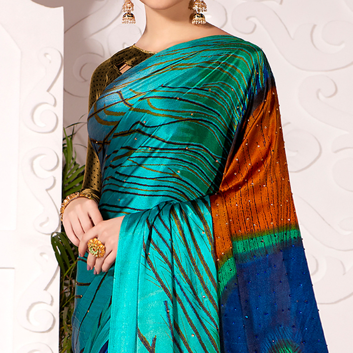 Stunning Blue-Multi Colored Partywear Peacock Feather Printed Satin Saree