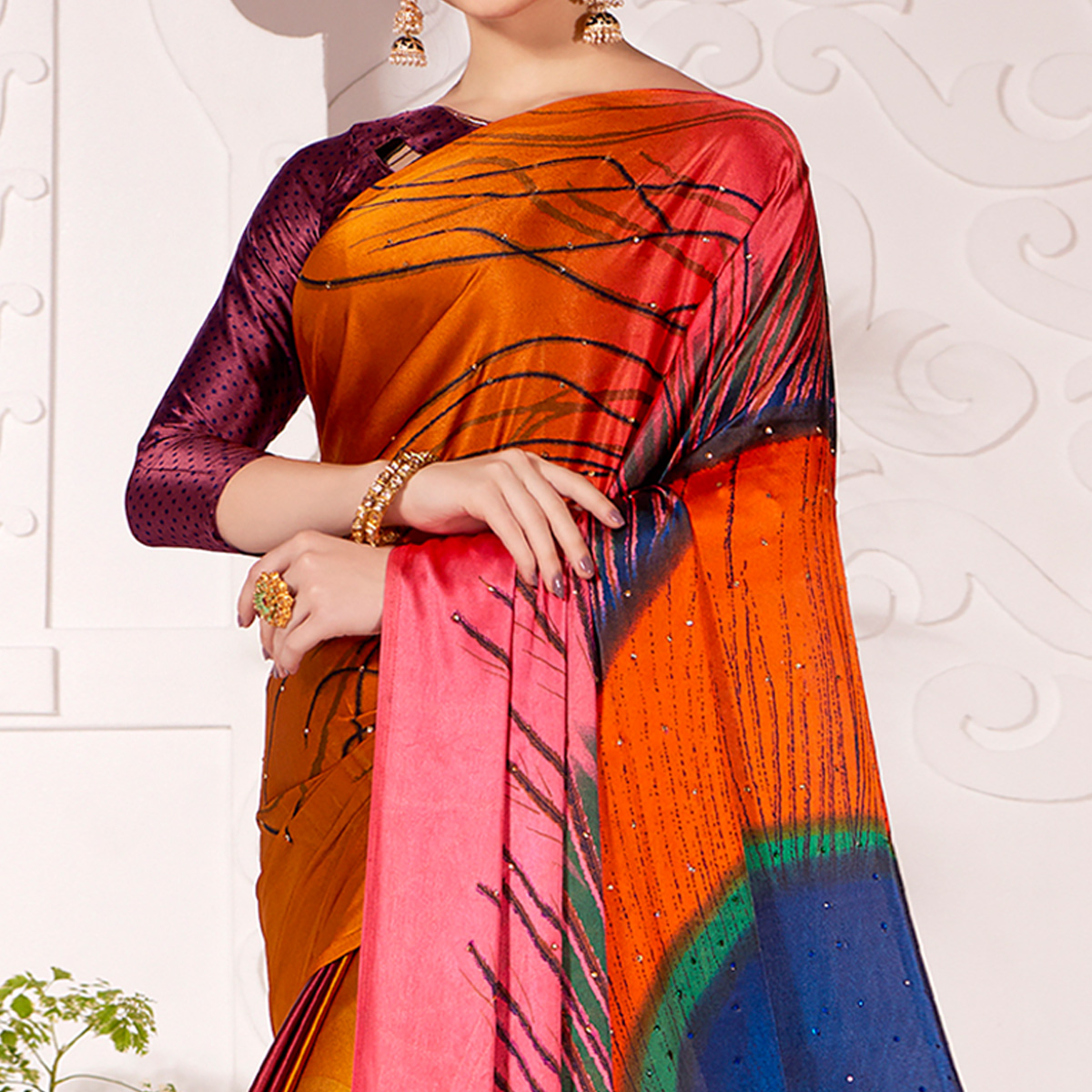 Flirty Orange Colored Partywear Peacock Feather Printed Satin Saree