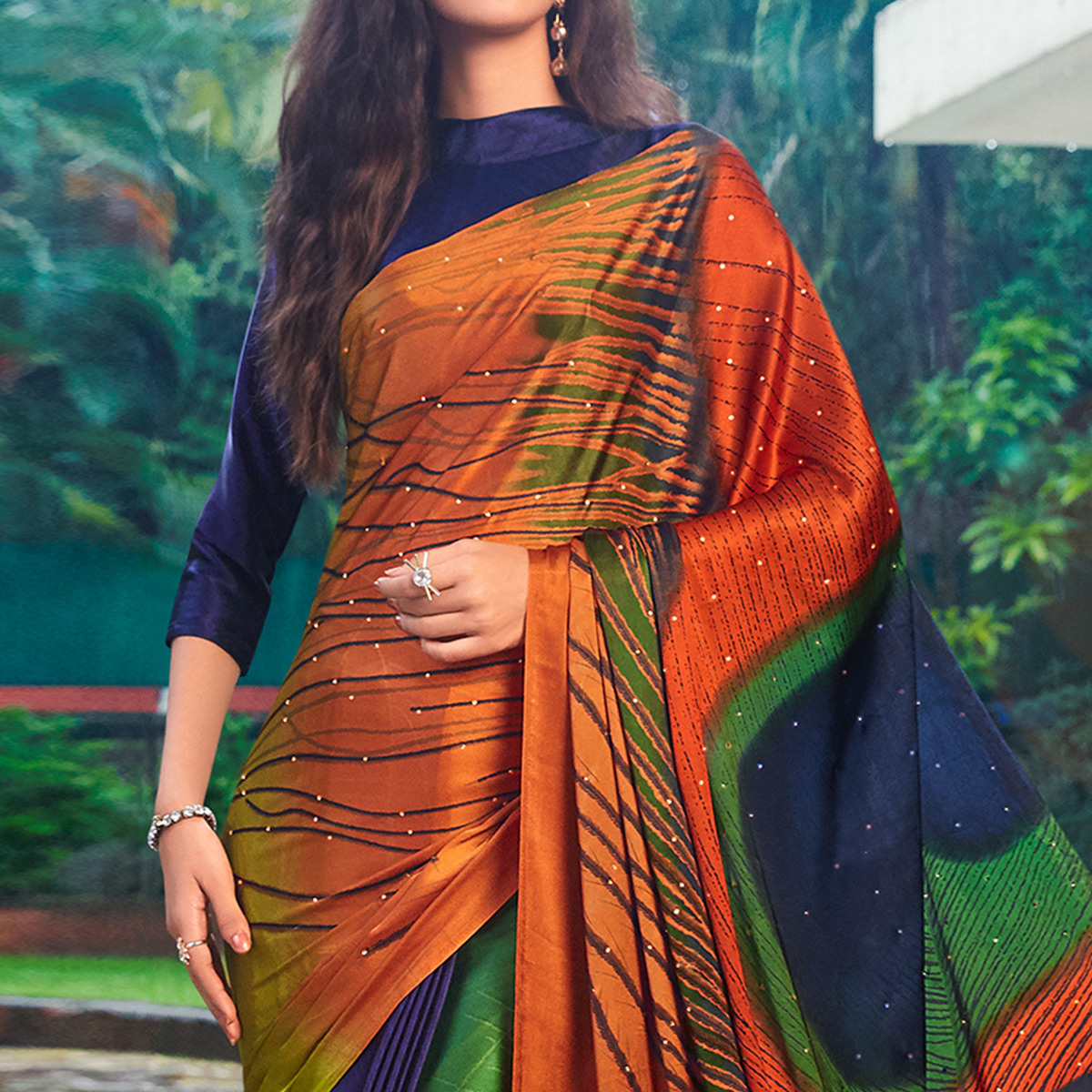 Classy Multi Colored Party Wear Printed Silk Saree