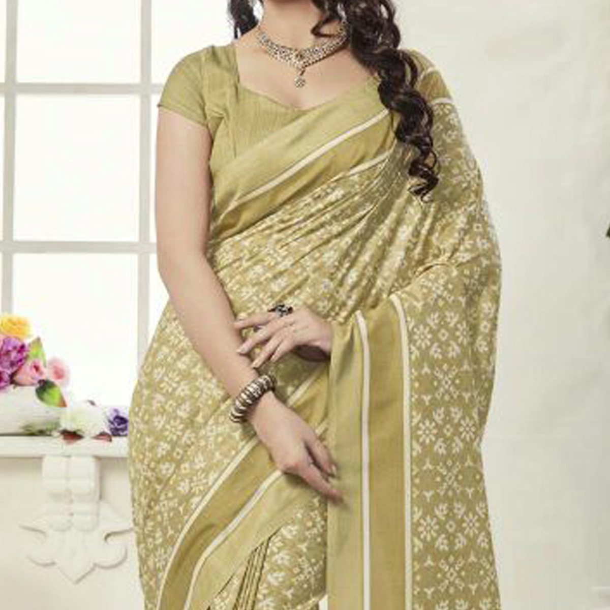Olive Green Printed Casual Wear Saree