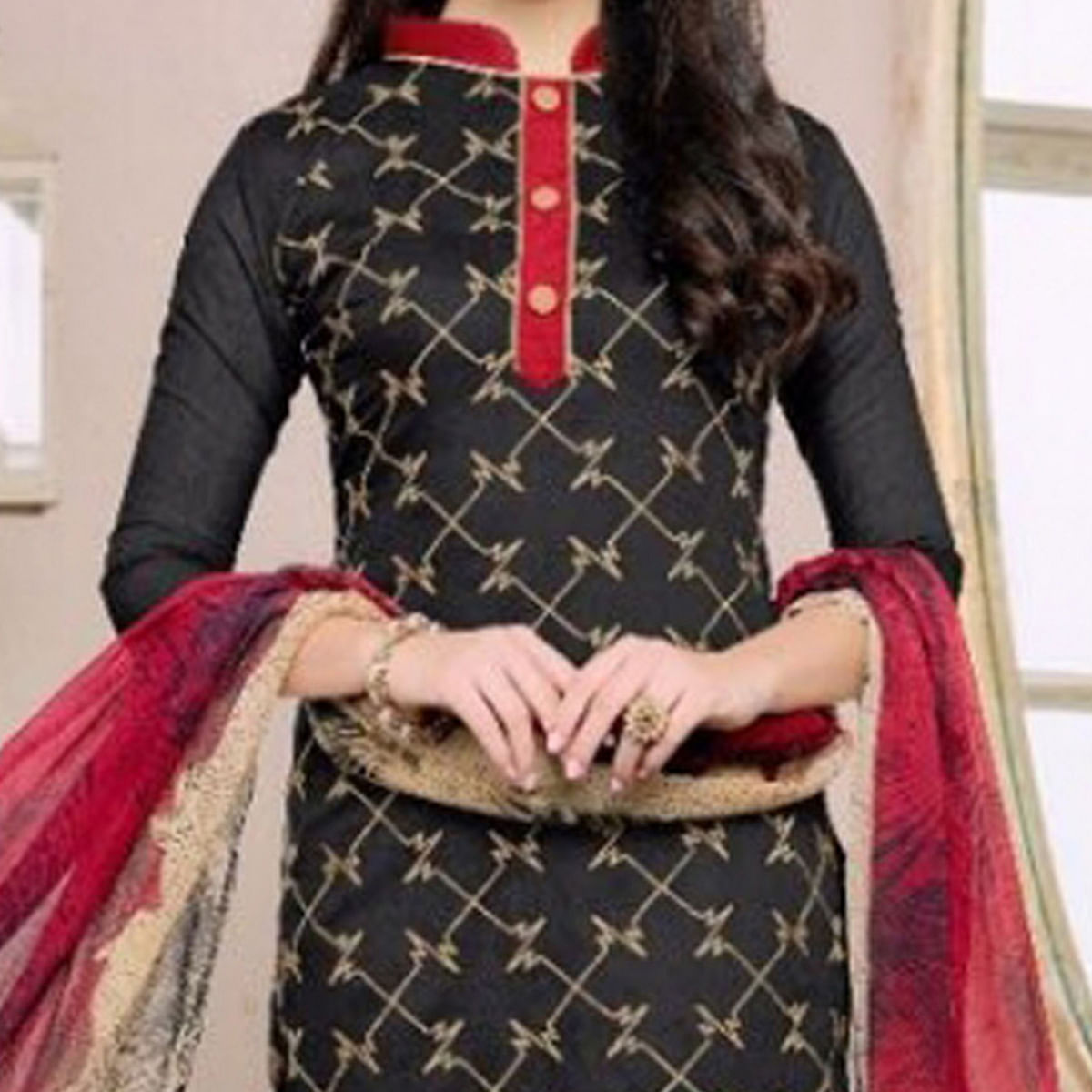 Black - Red Cotton Chanderi Dress Material