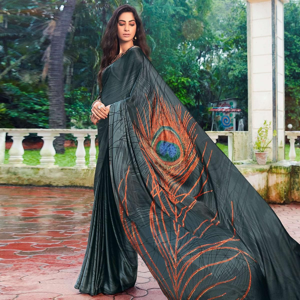 Prominent Grey Colored Party Wear Printed Silk Saree