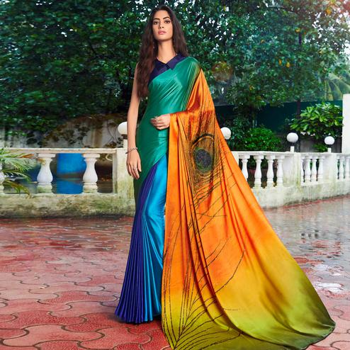 Appealing Multi Colored Party Wear Printed Silk Saree