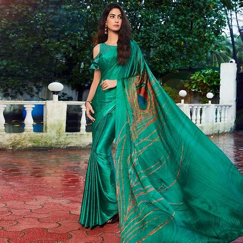 Capricious Rama Green Colored Party Wear Printed Silk Saree
