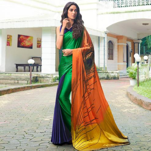 Entrancing Multi Colored Party Wear Printed Silk Saree