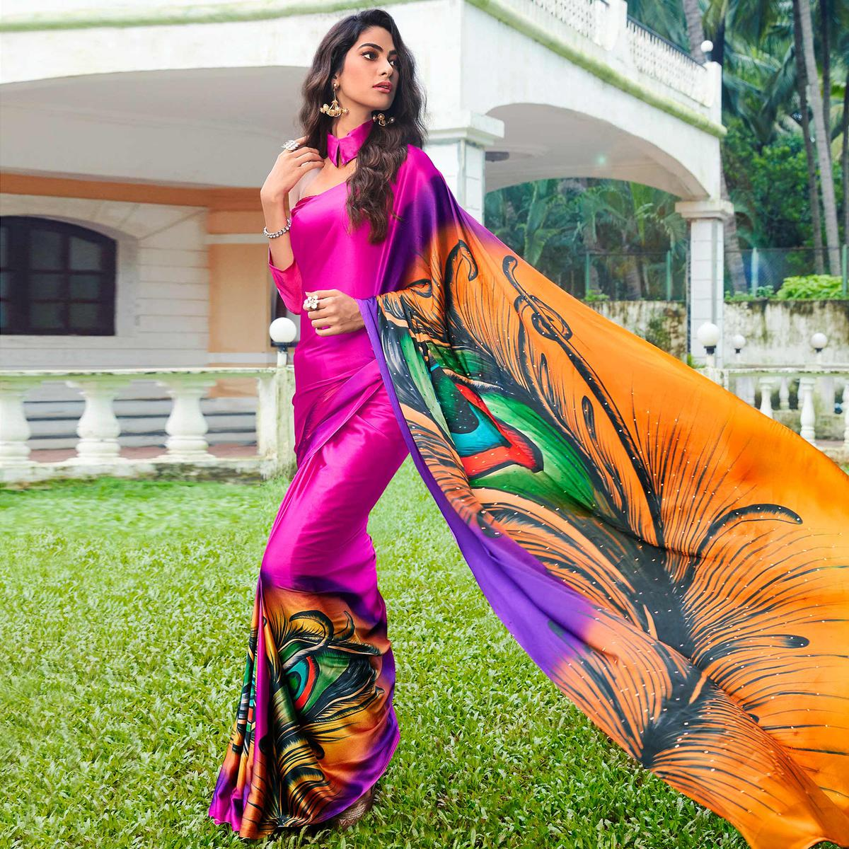 Groovy Pink Colored Party Wear Printed Silk Saree