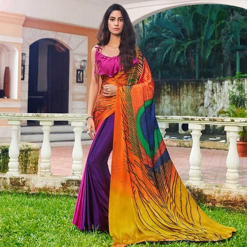 Adorning Multi Colored Party Wear Printed Silk Saree