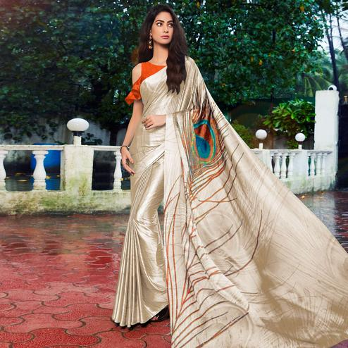 Exclusive Cream Colored Party Wear Printed Silk Saree
