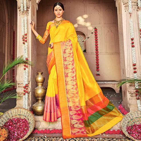 Adorable Mustard Yellow Colored Festive Wear Woven Banarasi Silk Saree