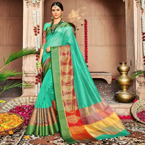 Glorious Turquoise Green Colored Festive Wear Woven Banarasi Silk Saree