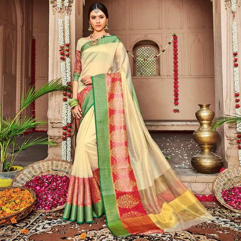 Attractive Cream Colored Festive Wear Woven Banarasi Silk Saree