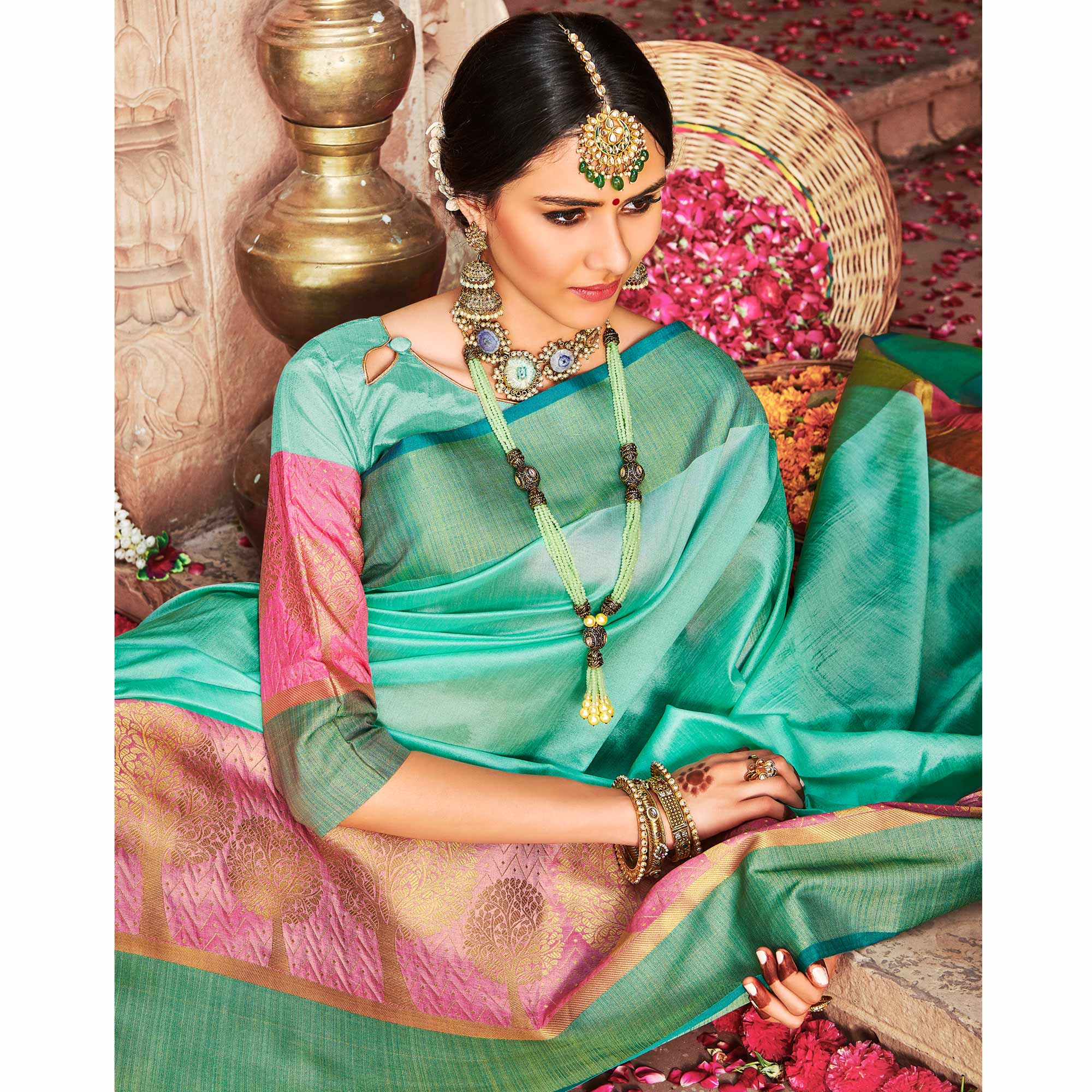 Beautiful Sea Green Colored Festive Wear Woven Banarasi Silk Saree