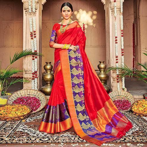 Delightful Red Colored Festive Wear Woven Banarasi Silk Saree
