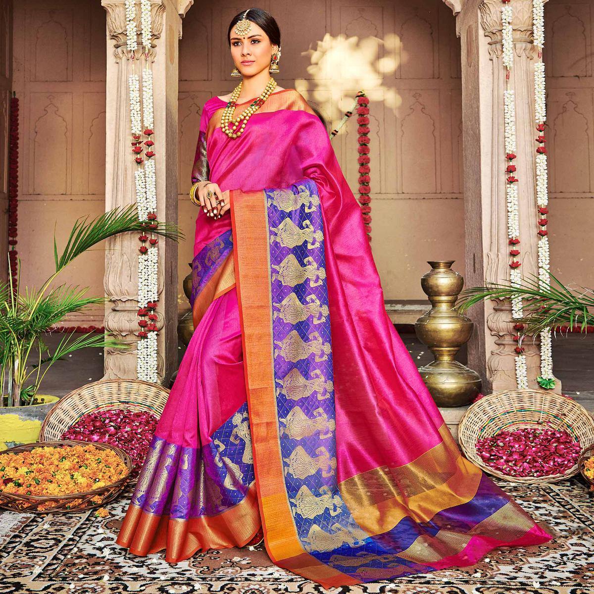 Engrossing Dark Pink Colored Festive Wear Woven Banarasi Silk Saree