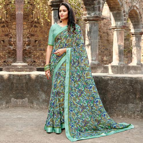 Glorious Mint Green Colored Casual Floral Printed Georgette Saree