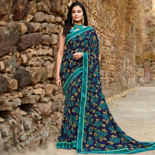 Attractive Navy Blue Colored Casual Floral Printed Georgette Saree