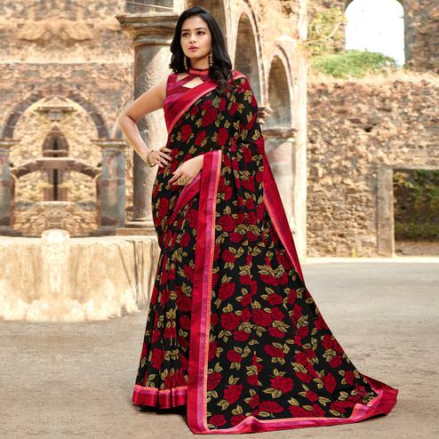 Beautiful Black-Red Colored Casual Floral Printed Georgette Saree