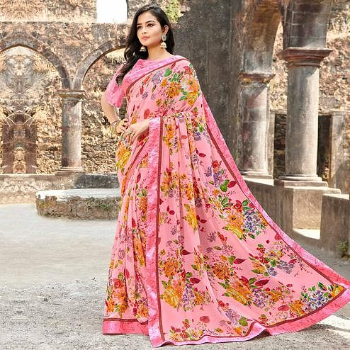 Blooming Pink Colored Casual Floral Printed Georgette Saree