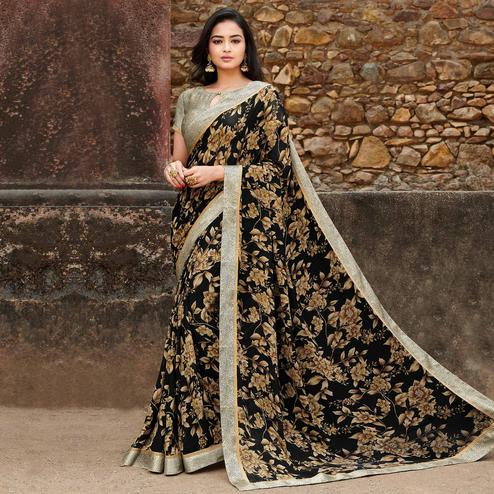 Charming Black Colored Casual Floral Printed Georgette Saree