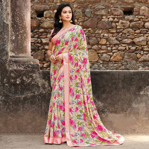 Jazzy Light Yellow-Pink Colored Casual Floral Printed Georgette Saree