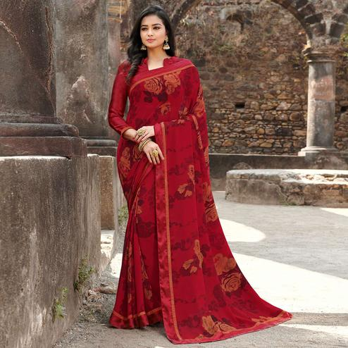 Delightful Red Colored Casual Floral Printed Georgette Saree