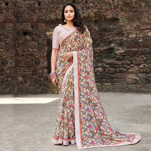 Innovative Cream Colored Casual Floral Printed Georgette Saree