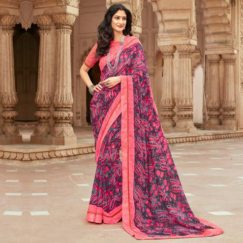 Classy Grey-Pink Colored Casual Paisley Printed Georgette Saree